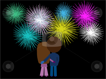 Couple watching fireworks display stock vector clipart, Vector illustration of a couple watching a fireworks display by Rachel Gordon