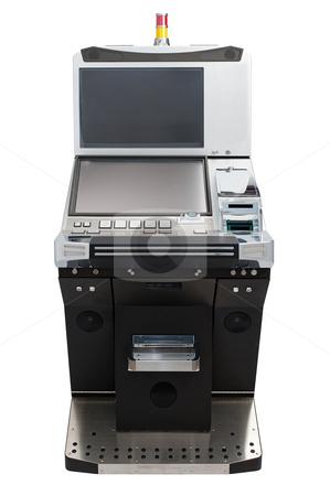 Jackpot machine stock photo, Casino slot machine isolated on white background by Roberts Ratuts
