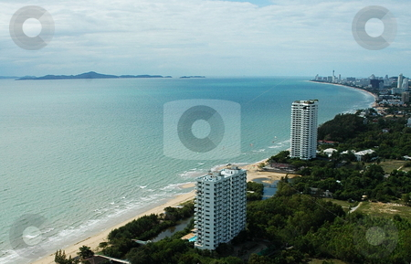 Skyscrapers on the seashore. stock photo, Luxuries Hotels and office buildings. Skyscrapers on the seashore. by Oleg Blazhyievskyi