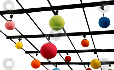Colorful sphere lamps. stock photo, Colorful sphere lamps. Red, Green, Blue, Yellow. Isolated on white. by Oleg Blazhyievskyi