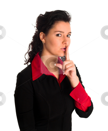 Lady finger on lips keep queit stock photo, A beautiful lady in a black jacket is pointing with her finger on her lips telling others to be queit. Shoosh. by Jaco Janse van Rensburg