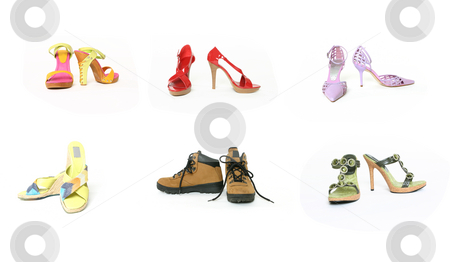 Six pairs shoes stock photo, Six pairs of shoes front and side view on white background by Leah-Anne Thompson