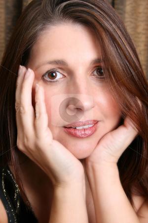 Adult Model stock photo, Beautiful brunette female model against a dark background by Vanessa Van Rensburg
