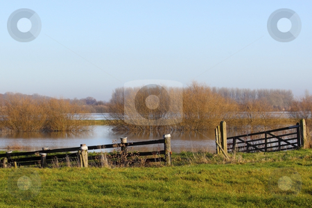 Flooded meadows stock photo, Flooded meadows of derwent ings in yorkshire on a sunny winters day by Mike Smith