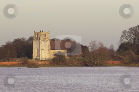Rural church stock photo, A rural church overlooking winter flood waters by Mike Smith