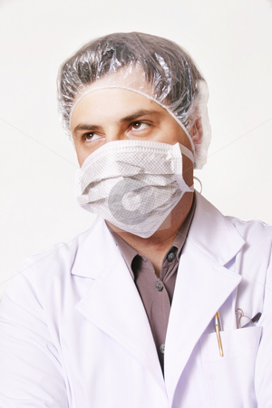 Protected stock photo, Masked man with protective gear from contamination by Leah-Anne Thompson