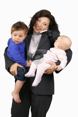 Juggling Career/family stock photo, A career woman busy with toddler, baby and telephone by Leah-Anne Thompson