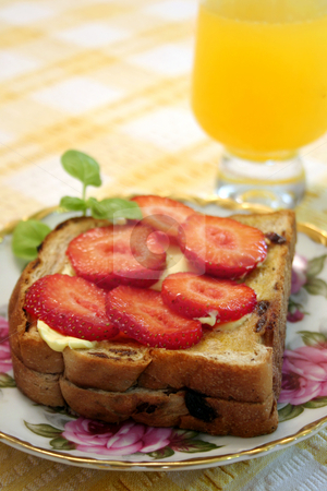 Breakfast stock photo, Strawberries on  Toast and juice vertical