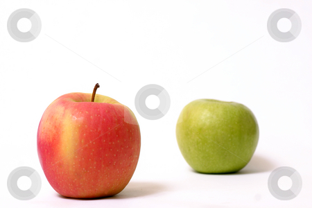 Red and green stock photo, Red and green apple.  Focus is on the red apple by Leah-Anne Thompson