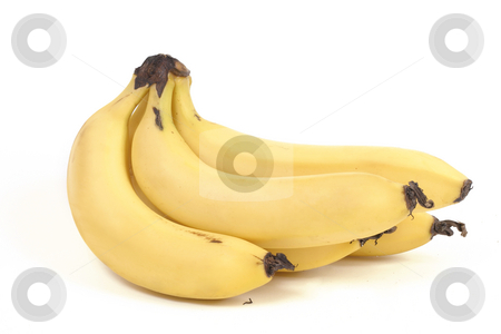 Bunch bananas stock photo, A bunch of bananas on a white backdrop by Leah-Anne Thompson