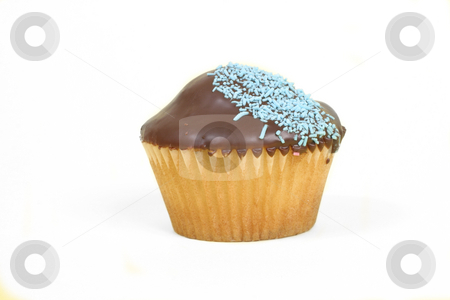Cupcake single stock photo, Single chocolate iced cupcake with blue decoration. by Leah-Anne Thompson