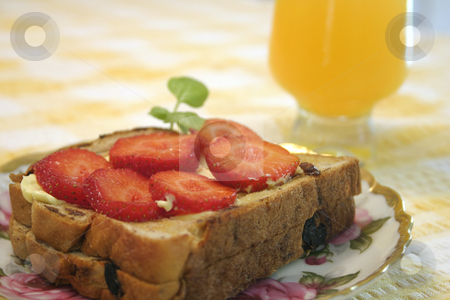 Breakfast  stock photo, Toast and juice - landscape by Leah-Anne Thompson