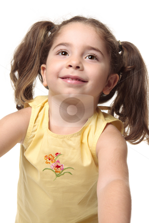 Pretty smiling toddler girl stock photo, Beautiful radiant smiling toddler girl looking up.  She has pigtails and is wearing a yellow tank top with embroidery. by Leah-Anne Thompson