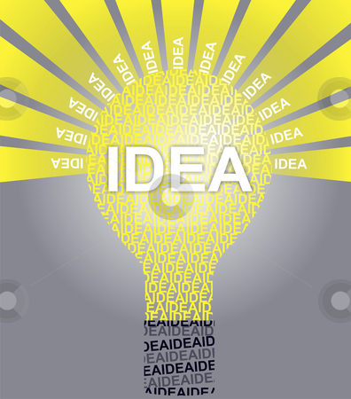 IDEA typographic bulb stock photo, Typographic illustration of word IDEA by Mile Atanasov