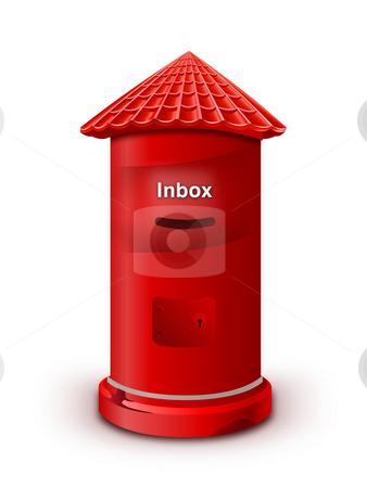 Mailbox stock photo, Red color Mailbox. Isolated on white background by Seeni Vasagams