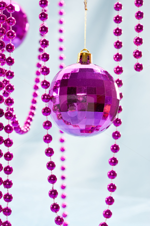 Christmas decoration stock photo, Holiday series: christmas purple ball decoration and garland by Gennady Kravetsky