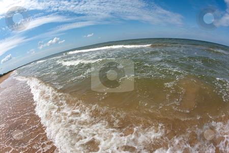 Summer sea stock photo, Nature series: summer sea coastline in fisheye view by Gennady Kravetsky