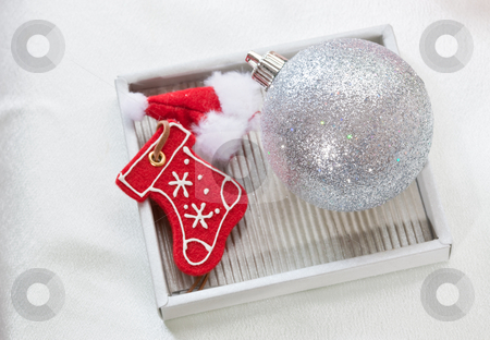 Christmas decoration stock photo, Holiday series: Christmas ball and boot decoration by Gennady Kravetsky