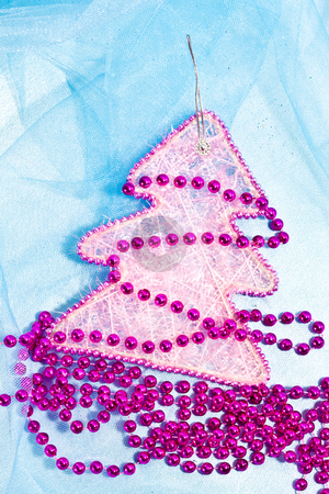 Christmas decoration stock photo, Holiday series: christmas purple fir and garland by Gennady Kravetsky