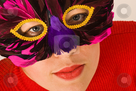 Mask stock photo, Portret of lady ih red with mask, carnival by Gennady Kravetsky