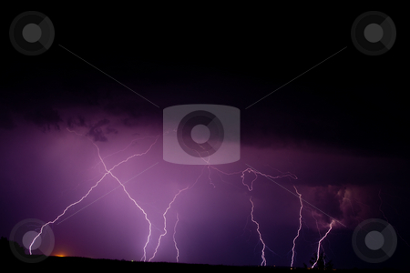 Thunderbolt stock photo, Nature series: night thunderstorm with thunderbolt in sky by Gennady Kravetsky