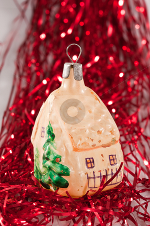 Christmas decoration stock photo, Holiday series: christmas old styled decoration and red garland by Gennady Kravetsky
