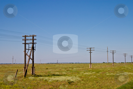 Telegraph road stock photo, Communication series: old styled telegraph wires road by Gennady Kravetsky