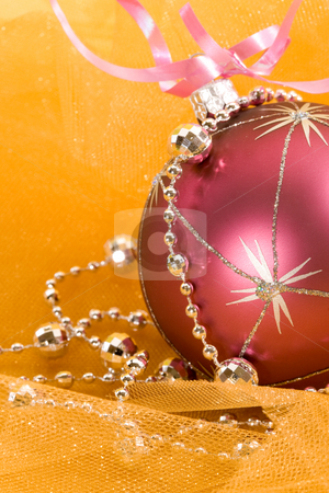 Christmas decoration stock photo, Holiday series: christmas purple ballt and silver garland by Gennady Kravetsky