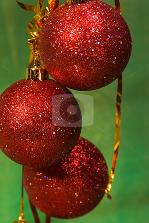 X-mas ball stock photo, Christmas decoration with garland, bulb and lacet by Gennady Kravetsky