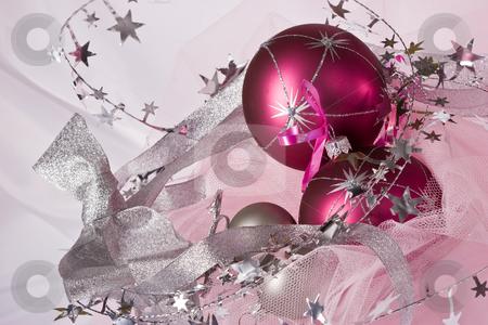 Christmas balls stock photo, Christmas still life with three pink balls by Gennady Kravetsky