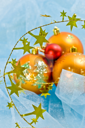 Christmas decoration stock photo, Holiday series: christmas decorated golden ball  on cloth by Gennady Kravetsky