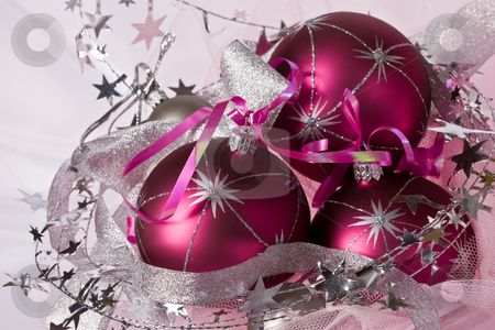 Christmas balls stock photo, Christmas series: still life with three pink balls by Gennady Kravetsky