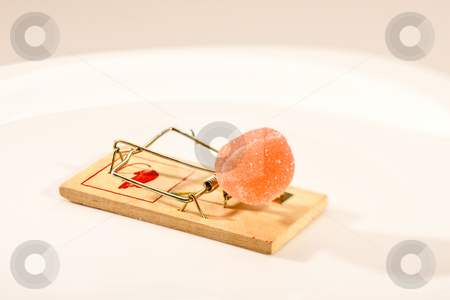 Mouse trap stock photo, Concept series: mouse trap with sweet jelly candy by Gennady Kravetsky
