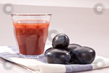 Plum juice stock photo, Food series: fresh plum with glass of juice by Gennady Kravetsky