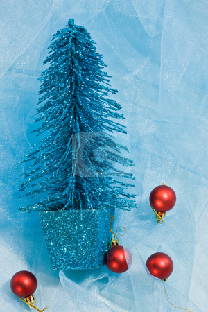 Christmas decoration stock photo, Holiday series: christmas blue fir and red ball by Gennady Kravetsky