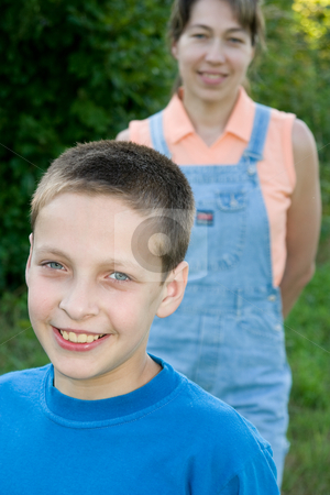 Smiling boy stock photo, People series: Portarit of smiling boy on nature by Gennady Kravetsky