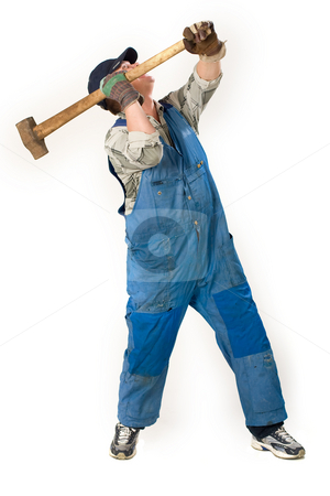 Working man stock photo, Portrait of workman with sledge hammer over white by Gennady Kravetsky
