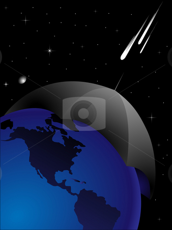 Danger 2012 stock photo, The abstract image of protection of planet the Earth from threat from space by Alina Starchenko