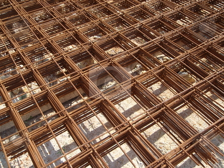 Steel Mesh stock photo, Steel wire mesh stockpiled for construction by Ah Hock Ong