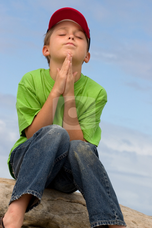 Silent Prayer stock photo, A child in prayer by Leah-Anne Thompson