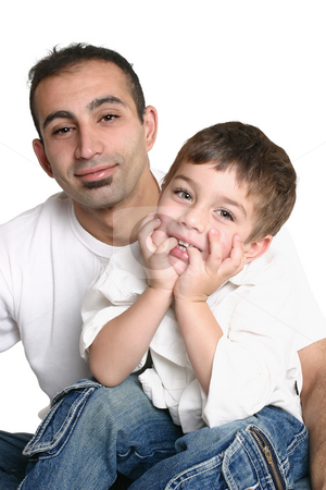 Father and child stock photo, Father and son wearing casual clothes together - white background. by Leah-Anne Thompson
