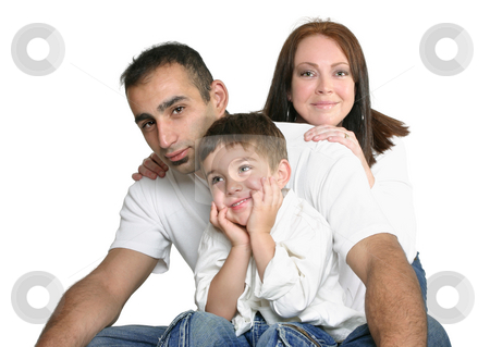 Family stock photo, Father, mother and son sitting in jeans on white background by Leah-Anne Thompson
