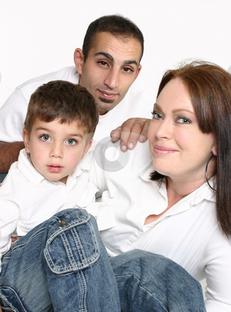 Multicultural Family stock photo, Mixed race family sitting together. by Leah-Anne Thompson