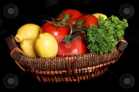 Garden Fresh stock photo, Fresh produce in a basket by Leah-Anne Thompson