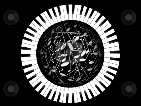 Keys of the piano and sphere from notes stock photo, Keys of the piano and sphere from notes on a black backgpound by Alina Starchenko
