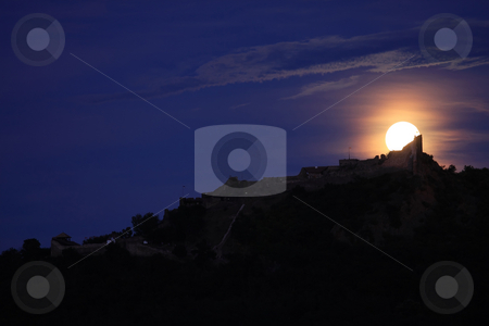 Foll moon stock photo, A full moon is above a Szigliget castle (Hungary) by ARPAD RADOCZY