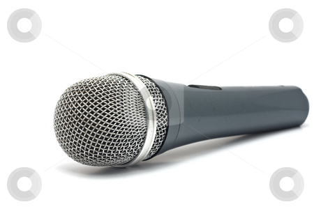 Microphone for karaoke stock photo, Microphone for karaoke isolated on a white background by Valerij Kotulskij