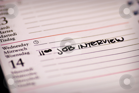 Job interview note stock photo, A note in a calendar about a job interview by bah1969