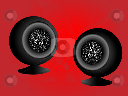 Acoustic system in the form of spheres stock photo, Acoustic yistem in the form of spheres on a red background by Alina Starchenko