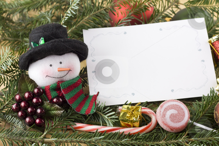 Snowman with blank christmas card stock photo, Traditional snowman with blank christmas card on fir branch by Lee Barnwell